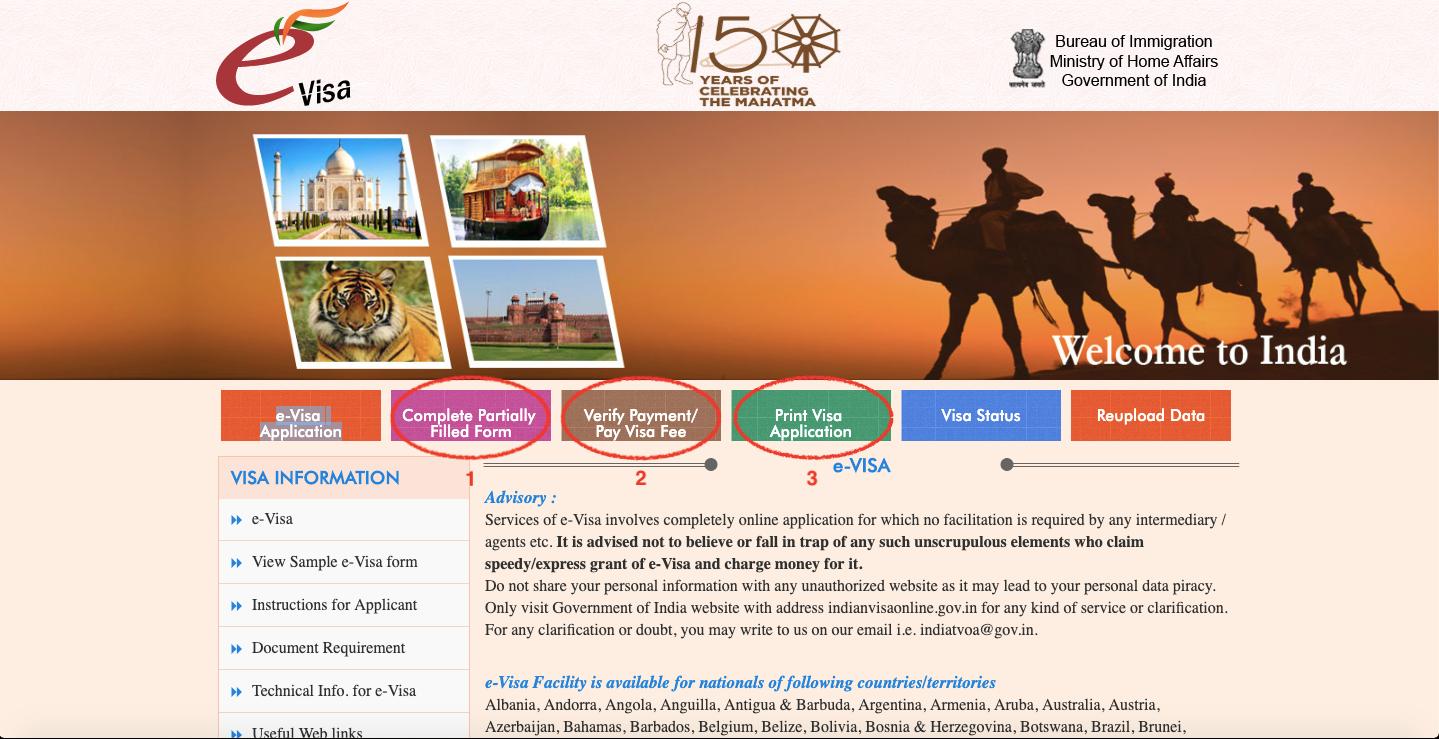 Offizielle Seite für ein Indien Visum