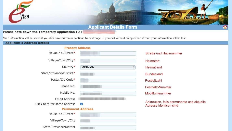 Internet-Seite für Indien Visum