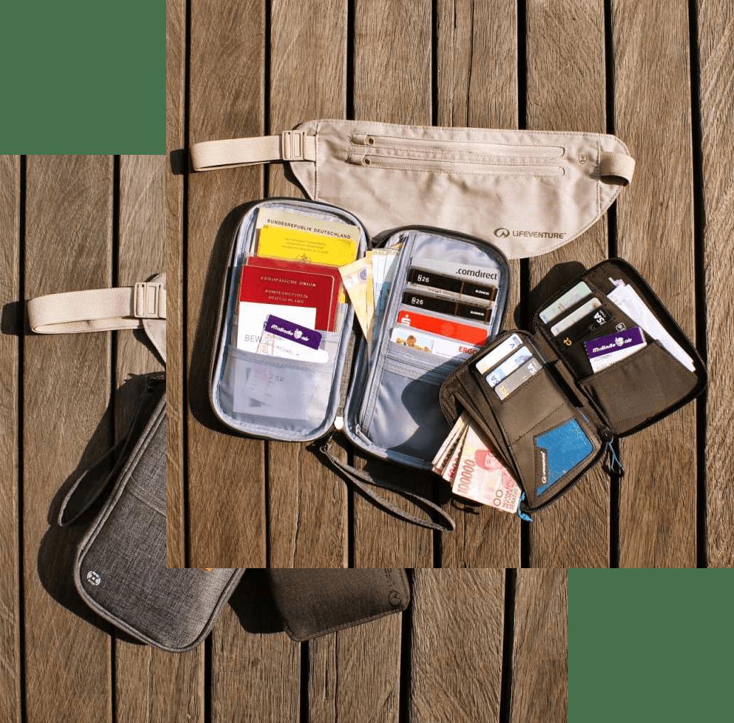 Reisepass-Organizer offen und geschlossen